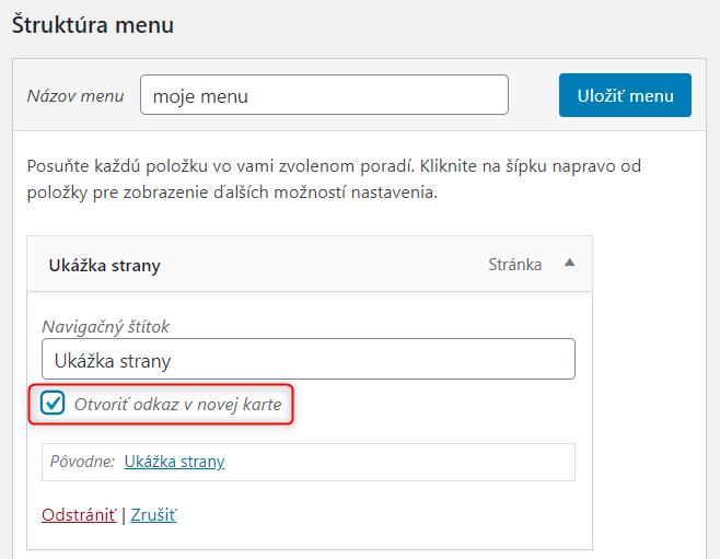 Ako otvoriť odkaz menu v novej karte, bod 3
