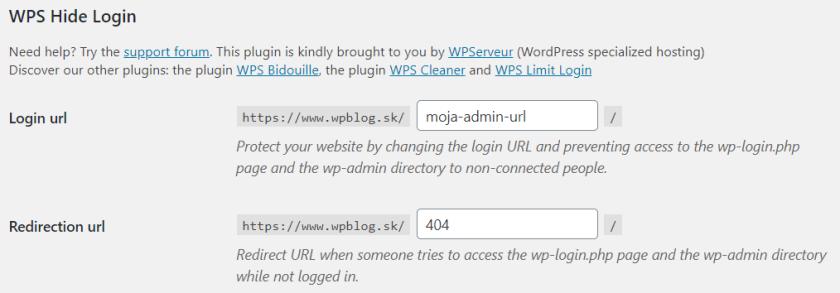 Konfigurácia WPS Hide Login